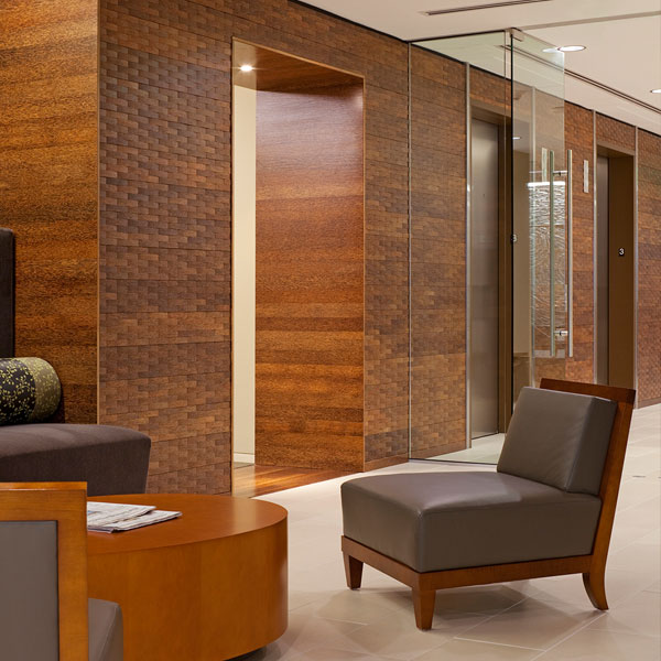 palmwood woven wall paneling in commercial interior